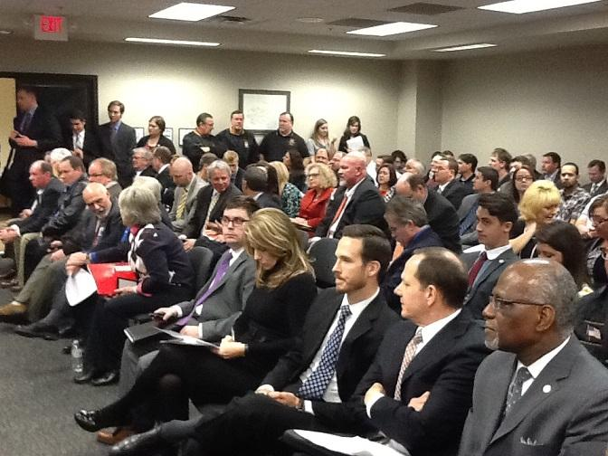 A standing-room-only crowd awaits the start of a hearing on House Bill 1099, which would make Missouri a right-to-work state.