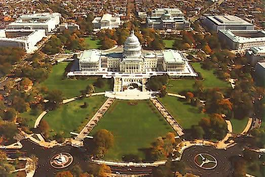 aerial view of Capitol Hill, D.C.
