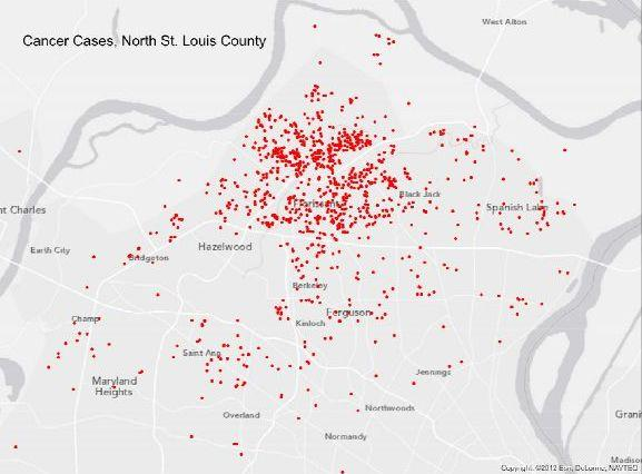 In Jan. 2014, an online survey had collected 1,242 reports of cancer from current and former residents of the neighborhoods around Coldwater Creek in North St. Louis County.