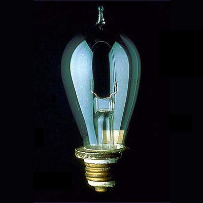 Thomas Edison incandescent light bulb, circa 1880.