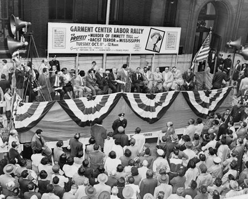 A 1955 rally in New York City protesting the murder of Emmett Till.