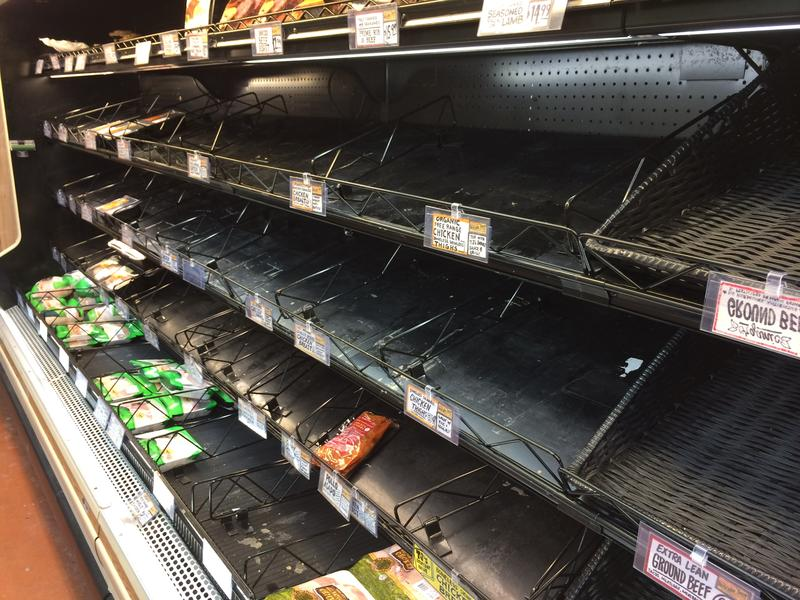 Saturday: The meat offerings were slim before the storm at the Trader Joe's, in Brentwood.