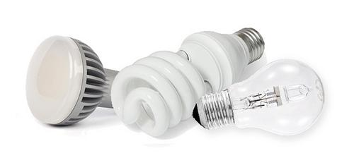 From left to right: an LED, CFL and Halogen light bulb.