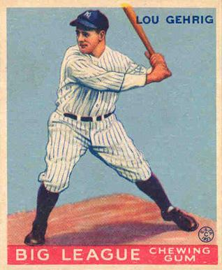 Lou Gehrig chewing gum card