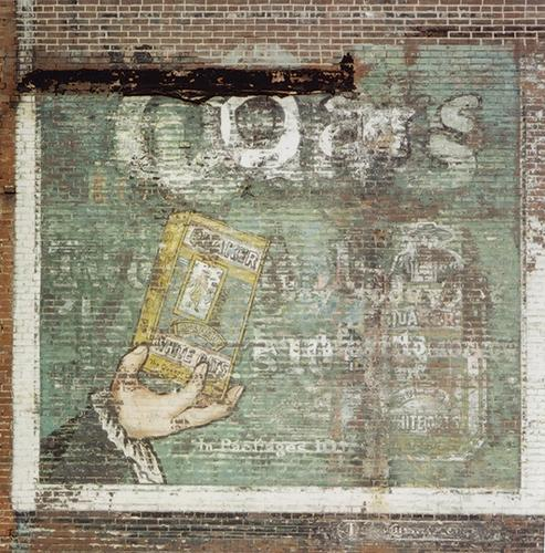 An old Quaker Oats wall [ca.1895] long since destroyed. Artwork resembles primitive folk art a la Grandma Moses.