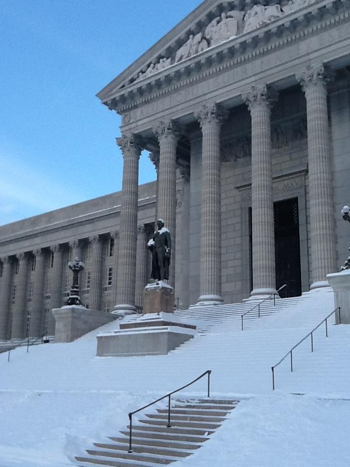 Thomas Jefferson statue facing South Lawn of Missouri Capitol