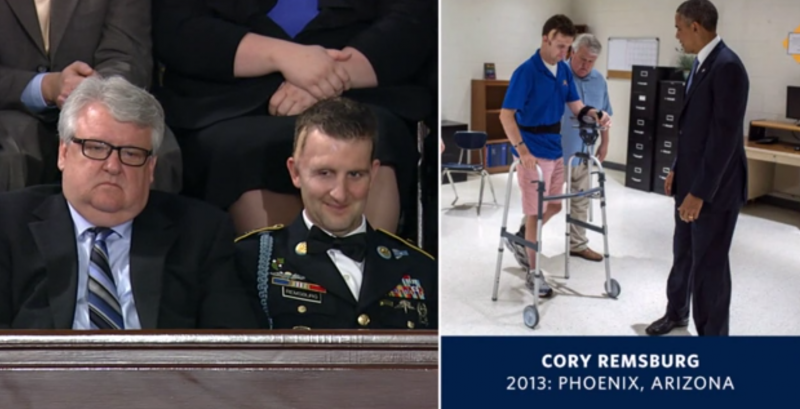 At left, Craig Remsburg sits with his son Cory during the State of the Union address along with a photo of the Army Ranger during rehab with President Obama.
