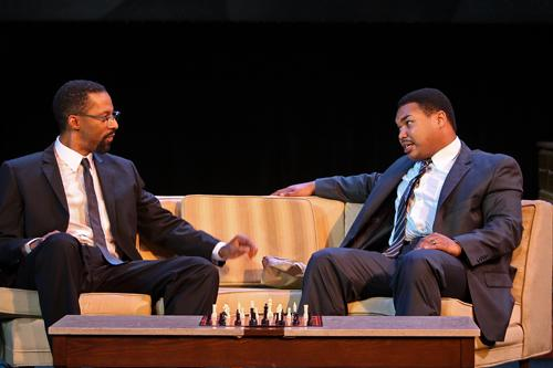 Ka'ramuu Kush as Malcom X (left) and Matthew Galbreath as Dr. King.