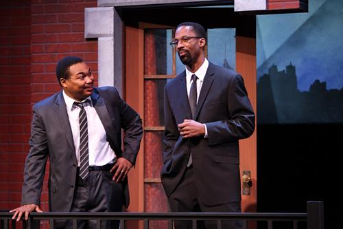 "Matthew Galbreath as Dr. King (left) and Ka'ramuu Kush as Malcom X in The Black Rep's ""The Meeting."""