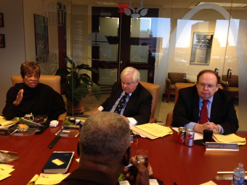 Robert Lowery (far right), a board member for the St. Louis Zoo-Musuem Distrct, at a board meeting in January 2014.