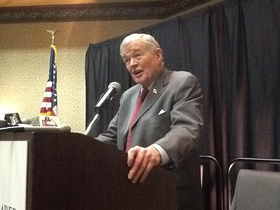 Former U.S. Sen. Kit Bond, R, speaks in support of expanding Medicaid at a Mo. Chamber event in Jefferson City on Feb. 25, 2014.