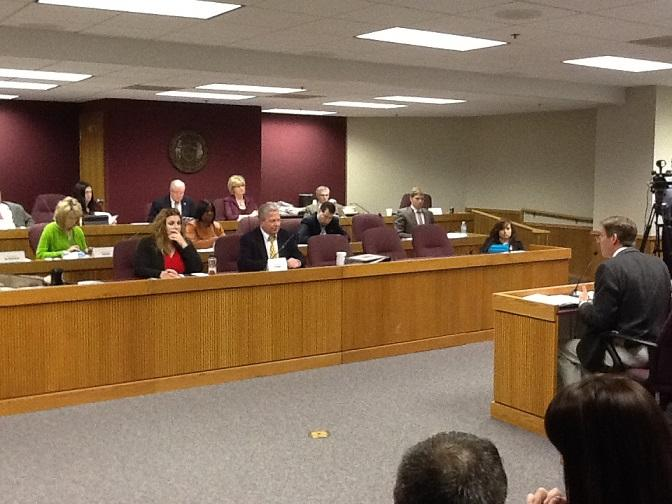 Members of the Mo. House Cmte. on Workforce Development & Workplace Safety hear testimony on a paycheck protection bill on Feb. 3, 2014.