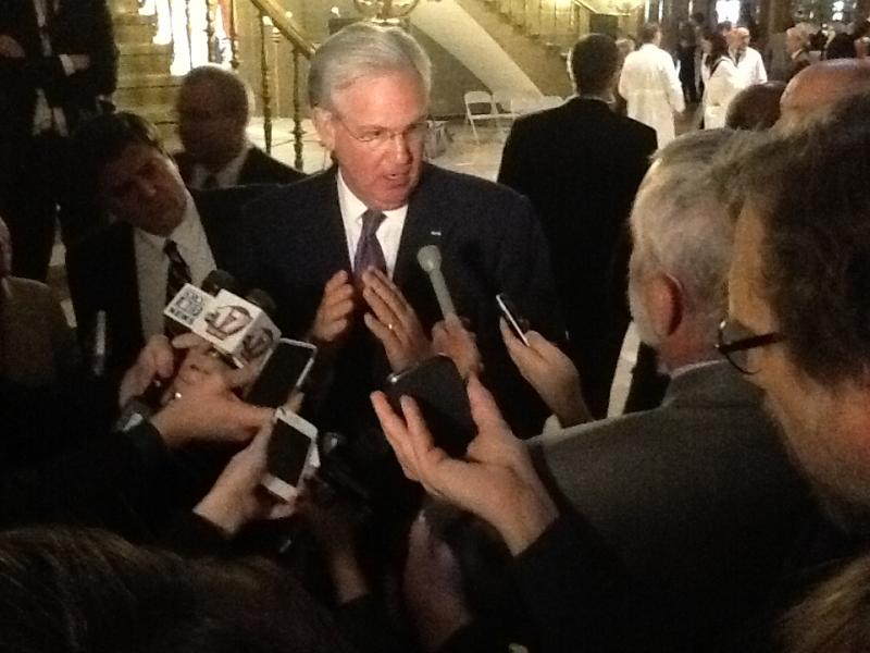 Mo. Gov. Jay Nixon, D, talking to reporters in 2013.  During a visit to Washington DC today he was asked by Politico if he plans to run for president.