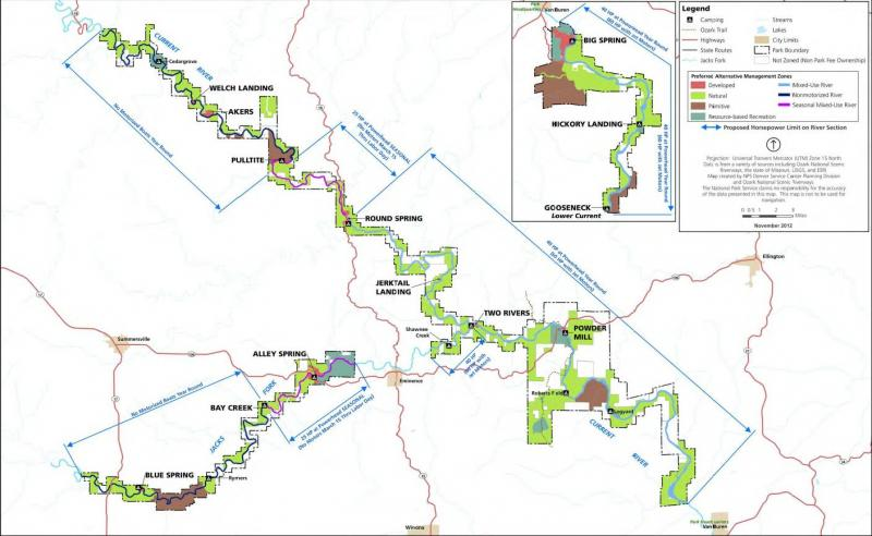 "This map shows ""Alternative B"" from the National Park Service's draft management plan for the Ozark National Scenic Riverways. It is the federal agency's preferred alternative, and would put some additional restrictions on recreational activities."