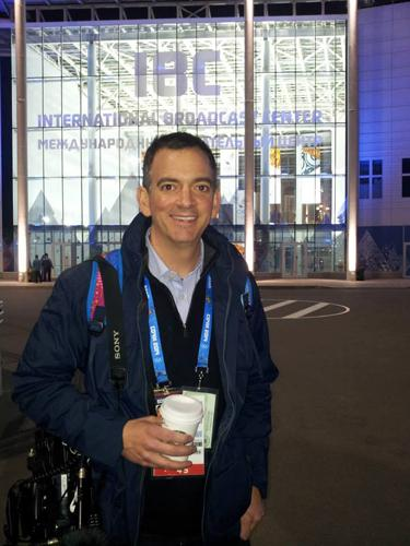 NewsChannel 5 reporter Casey Nolen outside the International Broadcastin Center in Sochi, Russia.