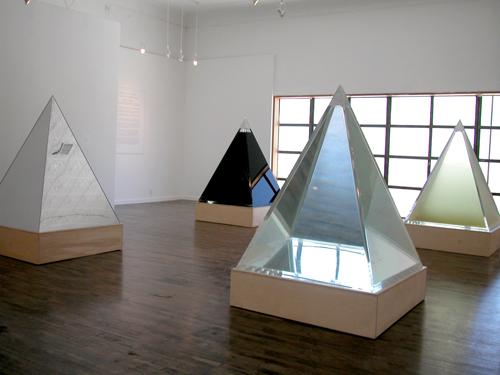 """Pyramids"" by Agnes Denes, part of ""Art of Its Own Making"" exhibit"