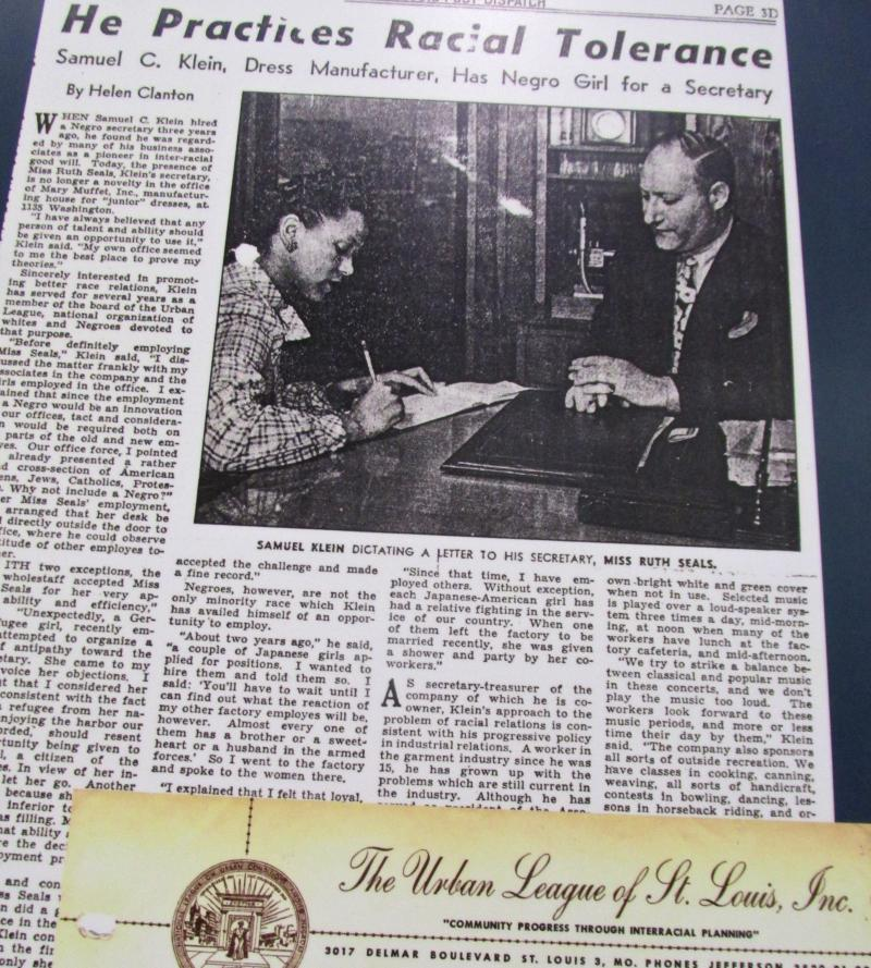 Jewish businessman Sam Klein made headlines in the 1940s when he hired Ruth Seals, an African-American, to be his secretary.