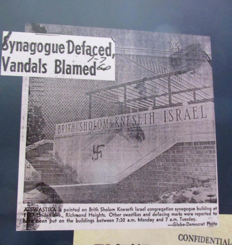 A newspaper clipping documents vandalism aimed at synagogues.