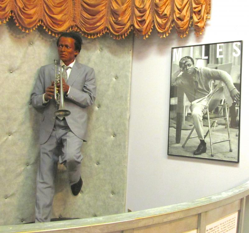 The exhibit on jazz legend Miles Davis. Director Lois Conley sculpted most of the wax figures in the museum.