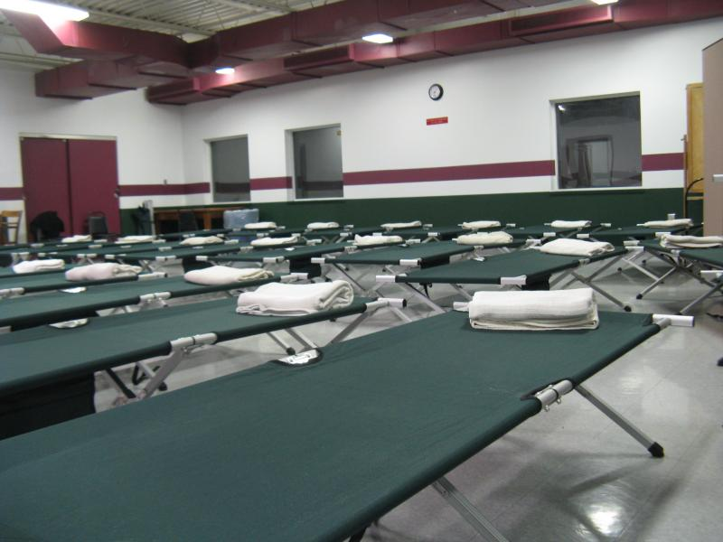 Cots at the St. Vincent Community Center in Pagedale, where St. Louis County opened an emergency overflow shelter for the homeless.