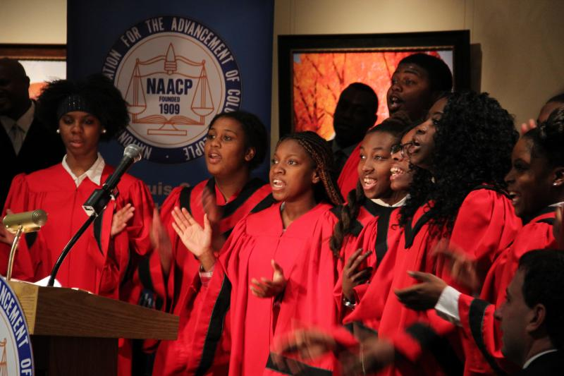 The Normandy High School Choir performs at an event honoring Rosa Parks on Feb. 23, 2014.
