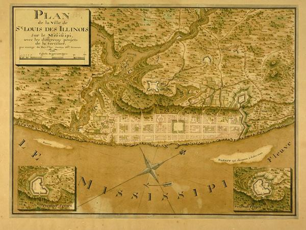 Plan de la Ville de St. Louis des Illinois sur le Mississippi, avec les differents  projets de la Fortifier (Map), 1796, Georges de Maillard de Bois Saint Lys  (French, 1766-?), 12 1/2  x 17 inches.