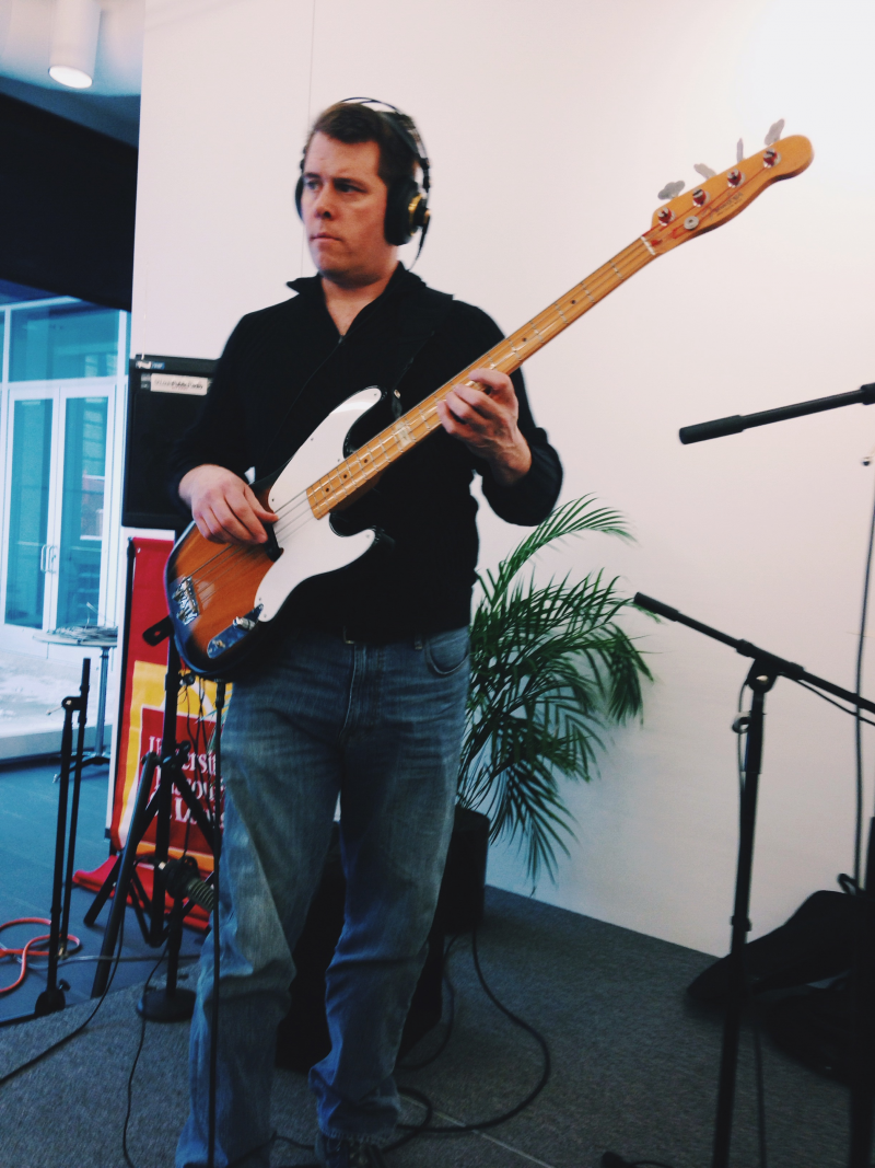 Eric Garland of Cree Rider Family Band recording for Arch City Radio Hour