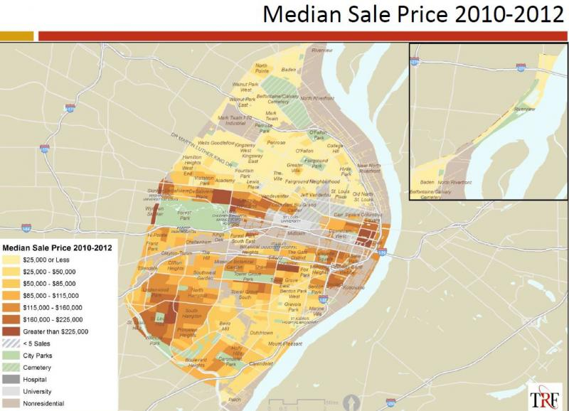 The market value analysis looks at a broad range of issues in St. Louis' real estate market, include the range of home sales prices.