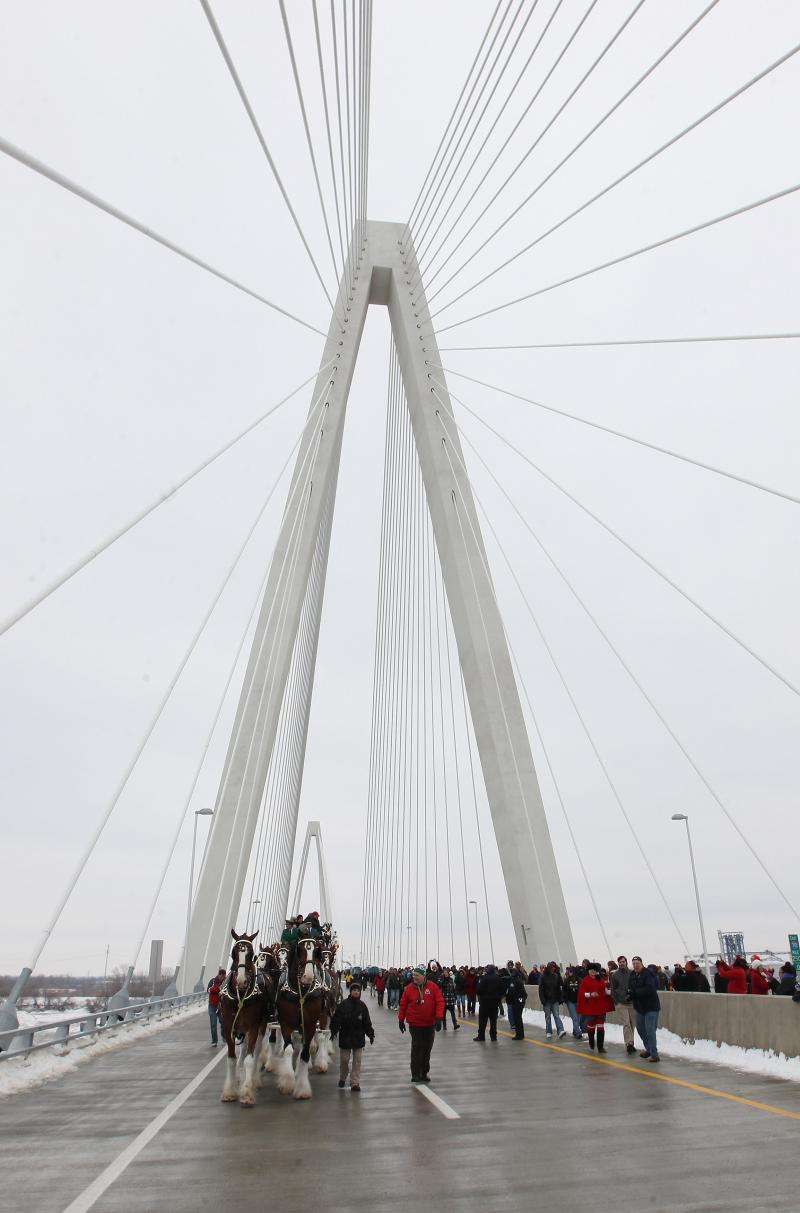 As befitting a bridge named for Cardinals great Stan Musial, the Clydesdales were part of the festivities on Feb. 8.