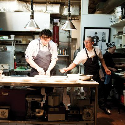 Chef/Restaurant Owner Mike Randolph (left) with his chef de cuisine Dale Beauchamp in the kitchen of Little Country Gentleman.