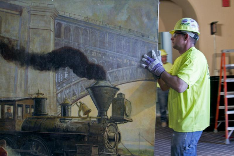 Mural panels come out for the first time in decades.