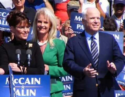 From left: Sarah Palin, Cindy and John McCain