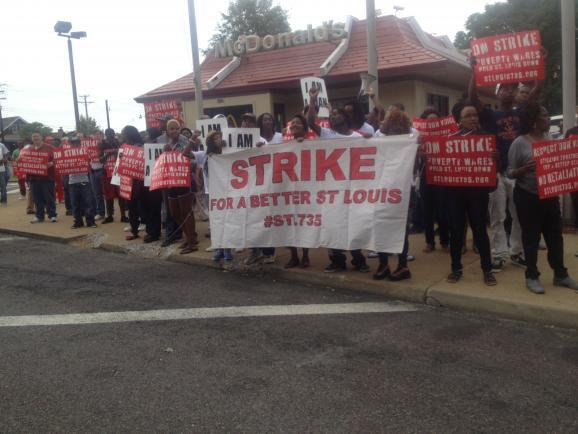 St. Louis workers on strike to raise the minimum wage.