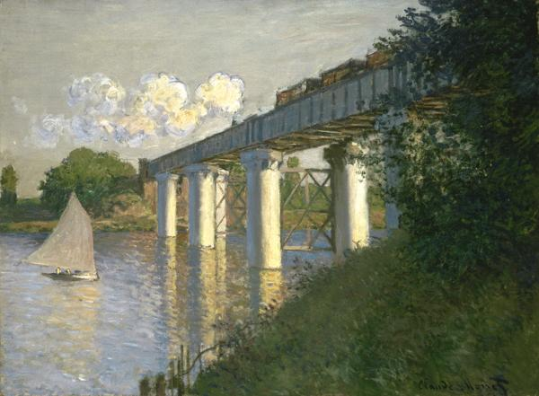 Claude Monet, French, 1840–1926; Railroad Bridge, Argenteuil, 1874; oil on canvas; 21 3/8 x 28 7/8 inches