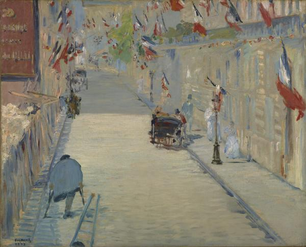 Édouard Manet, French, 1832–1883; The Rue Mosnier with Flags, 1878; oil on canvas; 25 3/4 x 31 3/4 inches