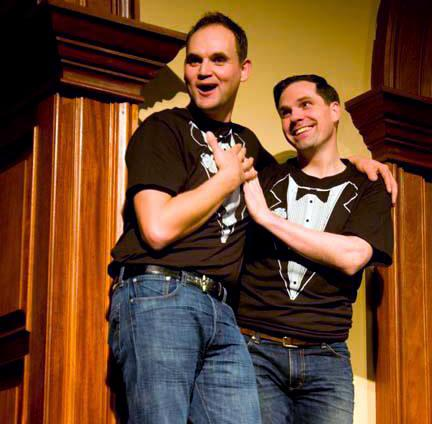 "Phil Leveling & Justin Ivan Brown in ""Zoo Story 2.0,"" one of the plays performed in the  2013 Briefs Festival."