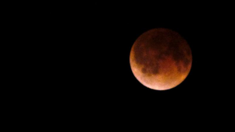 "The ""Blood Moon"" during the eclipse early in the morning of April 15, 2014."