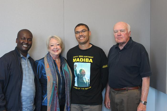 From left to right: Ntobego Peni, Linda Biehl, Manfred Jacobs and Don Marsh in the St. Louis Public Radio talk studio on April 23, 2014.