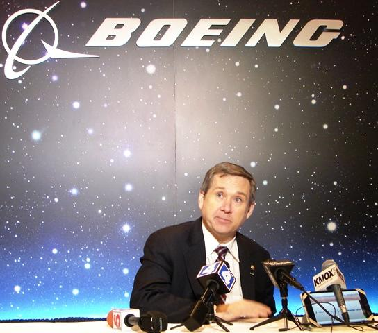 U.S. Sen. Mark Kirk of Illinois held a press conference Monday after touring the facility where Boeing builds the Navy's EA-18 G Growler.