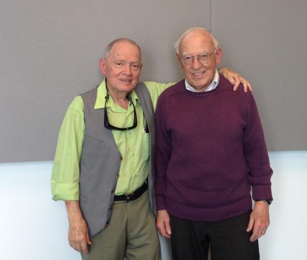 Mike Koenig (left) with his brother Jerry Koenig in the St. Louis Public Radio talk studio.