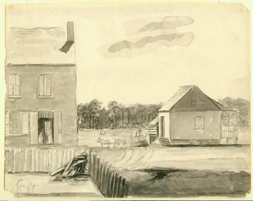 St. Louis scene by Anna Maria von Phul, circa 1818.
