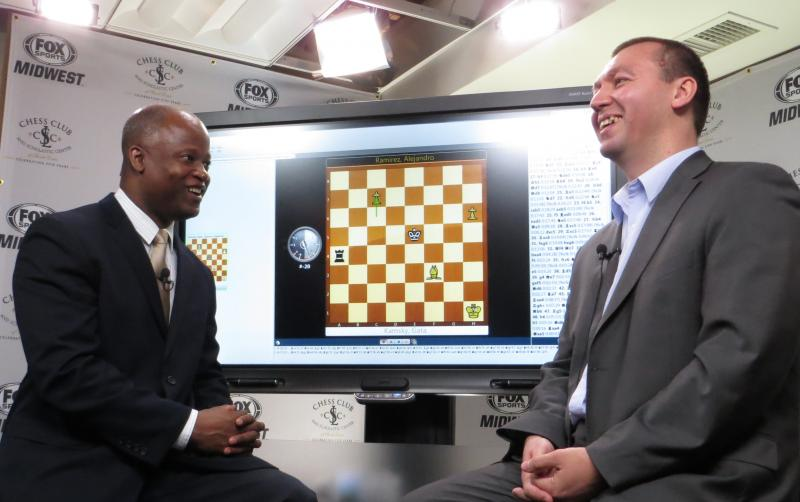 Maurice Ashley (left) interviews Gata Kamsky at the 2013 US Championship.