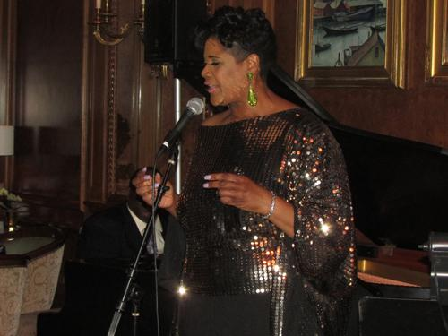 Denise Thimes performing at Aretha Franklin's 72nd birthday party.