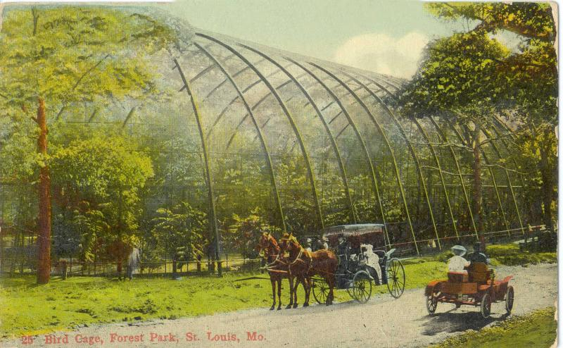A vintage postcard scene of the bird cage in Forest Park.