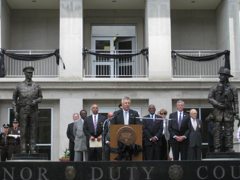Dean Bryant, the special agent in charge of the St. Louis FBI office, speaks at a first responders memorial service on May 9, 2014