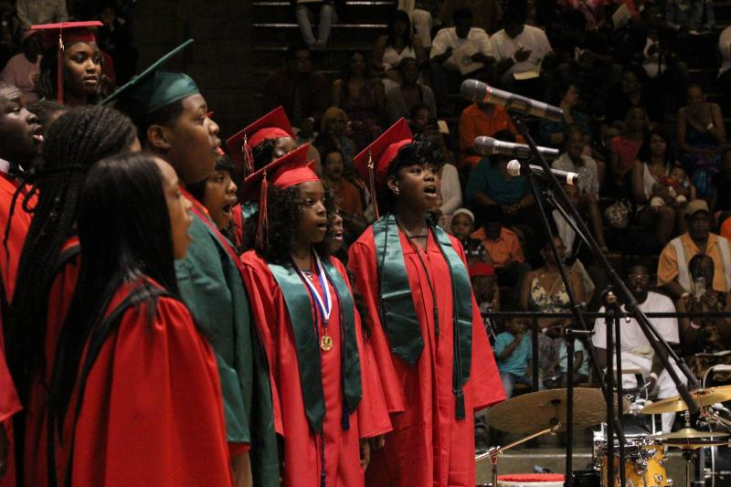 The Normandy High School choir performs during the school's graduation ceremony.
