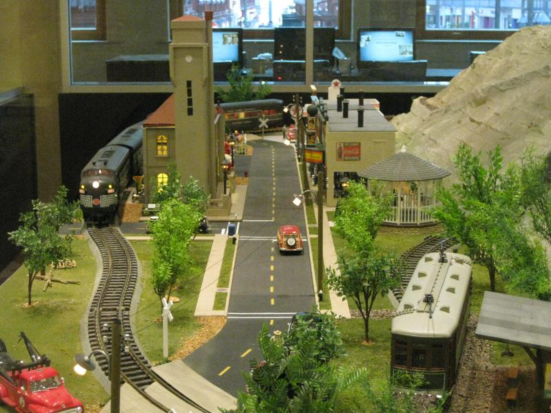 Part of a train display inside the Union Station hotel Starbucks