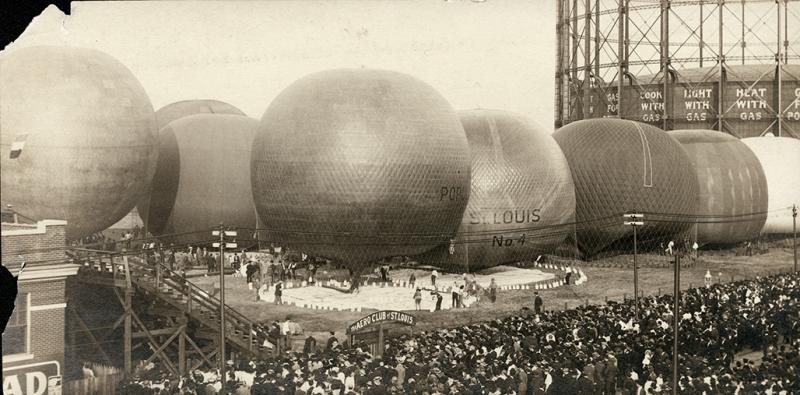 1909: Balloons being inflated for the St. Louis Centennial balloon race, the signature event of a week-long celebration that marked the 100th year of the city's incorporation.