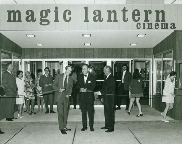 In the early 1970s the Tivoli operated under the name Magic Lantern Cinema. Present for the ribbon cutting in October 1969 were (l to r) Edward Arthur, Mayor Nathan Kaufman and James Scott of Cinema Art Educators who operated the theater.