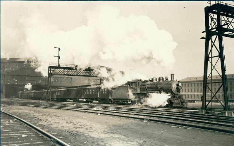 A train leaves Union Station in St. Louis in this picture dated between 1909 and 1919.